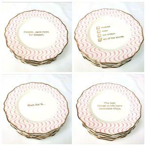Humor Dessert Plates - Serving China w/ Gold Trim